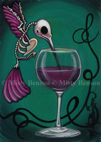 Hummingbird Skelly Drinking Wine